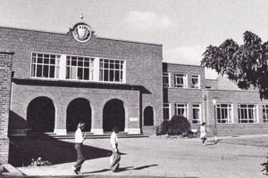 A view of the exterior of the university st johns campus in the 1960s