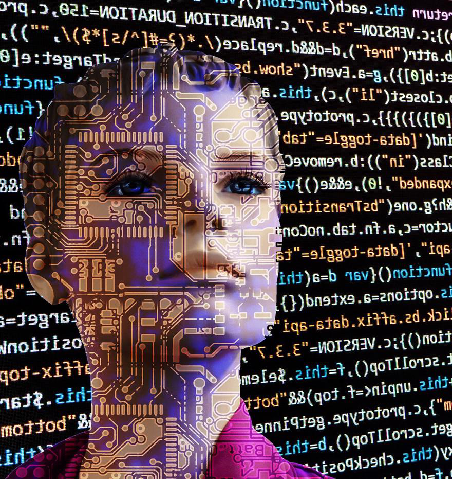 A computer generated image of a woman's face is surrounded by code