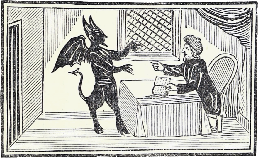 The Devil taunts a man in a hat