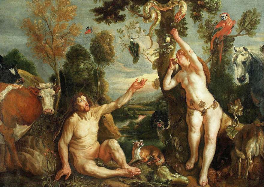Adam implores Eve not to pick fruit from a tree with a snake in it, while an audience of byst和er mammals look on, oblivious.