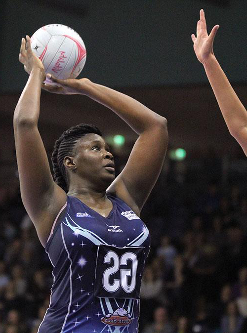 Worcester Seven Stars Netball player takes aim