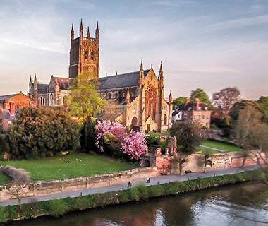 Worcester Cathedral viewed from the opposite side of the River Severn